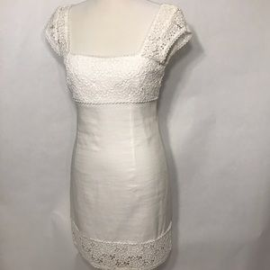 Laundry by Sheli Segal white Linen and lace dress